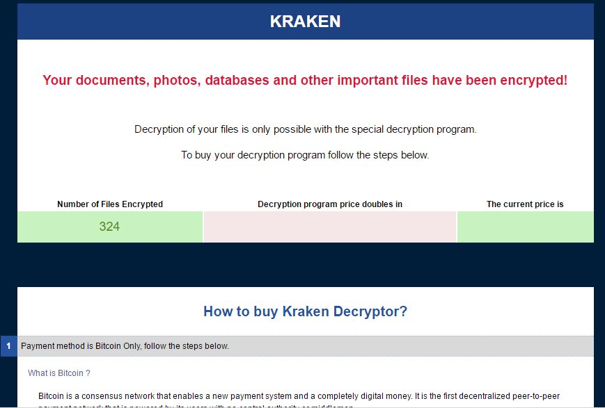 Kraken Ransomware - portion of the ransom note